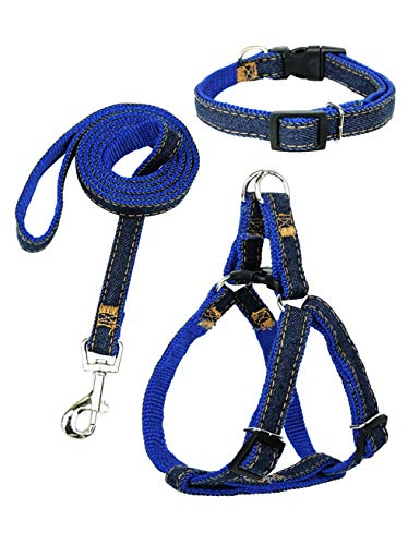 - Hamour Dogs Leash Harness Adjustable Collar Set Denim Pet Lead Vest Small Medium Large for Walking Training,Blue Denim(3 in 1), M(15
