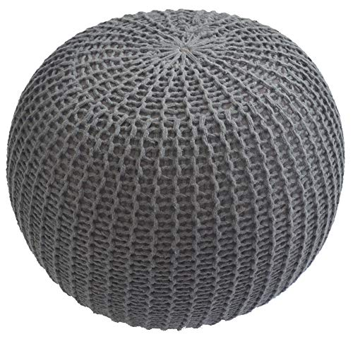 Urban Shop Round Knit Pouf - Hand Woven Cotton, Grey (Poofs Knitted)
