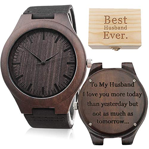 To My Husband I Love You More - Mens Wood Watch with Black Leather Strap, Personalized Husband Gifts from Wife to My Husband Watch