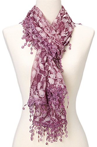 (Cindy and Wendy Lightweight Soft Leaf Lace Fringes Scarf shawl for Women,Purple,One Size)