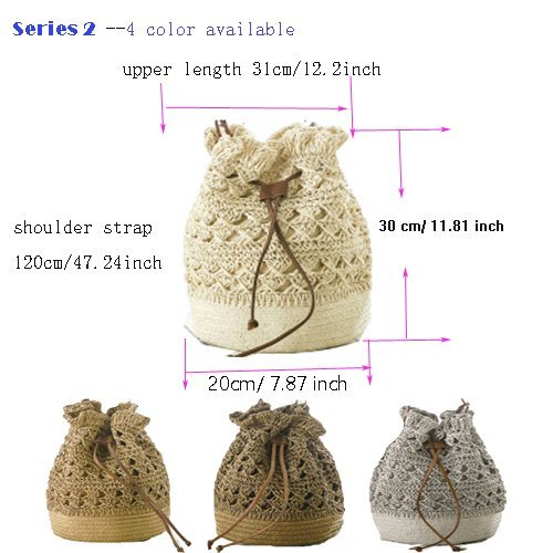 Straw Bag Hobo Drawstring Bamboo Bag Abuyall Ball Out Woven Handle Pompom Bag Shoulder Beaded Small Hollow Hasp Large Straw Bucket I Axxnd6B