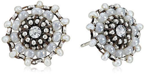 Miguel Ases Seed Pearl and Sterling Silver Small Stud Earrings by Miguel Ases