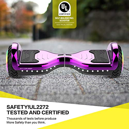 CITY CRUISER Hoverboard with Bluetooth Speaker, LED Light by UL 2272 Certified Best Gift for Kids Purple by CITY CRUISER (Image #4)