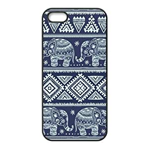 Blue Elephants Aztec Protective Rubber Cover Case for iPhone 5 5s