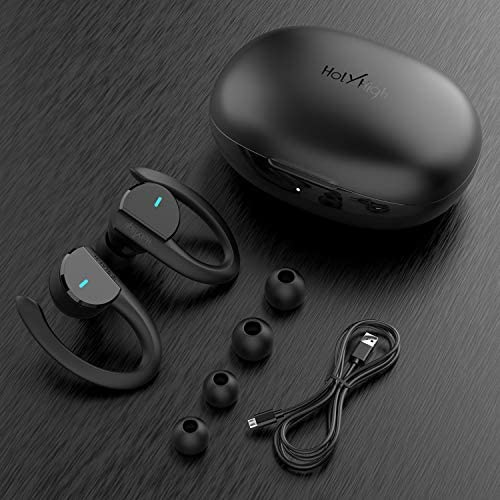 【2020 Newest】 HolyHigh Wireless Earbuds Bluetooth Headphones 5.0 True Wireless Earphones Deep Bass Sports Earbuds, 36H Playtime with Charging Case, IPX7 Waterproof Wireless Headphones for Running
