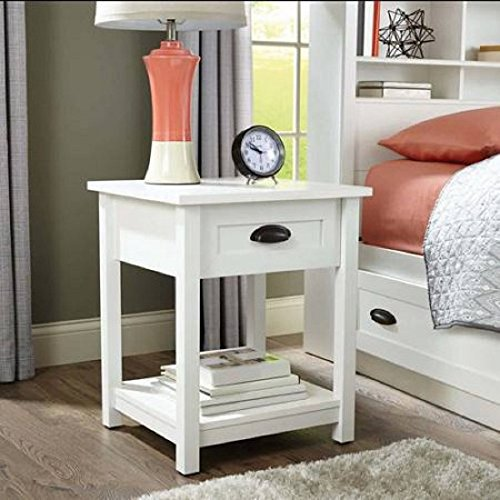 Better Homes and Gardens Lafayette Night Stand, White Finish | Open Shelf Provides Additional Storage from Better Homes & Gardens