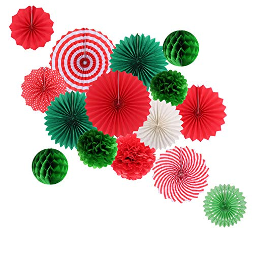 Hanging Party Decorations Set Tissue Paper Fan Paper Pom Poms Flowers and Honeycomb Ball for Christmas Wedding Engagement Graduation Party Decor Green Red Kit]()