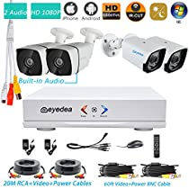 Eyedea H 1080P 4 CH DVR Audio Built in Outdoor Waterproof Infrared LED Night Vision Video Surveillance Business Home CCTV Security Camera System