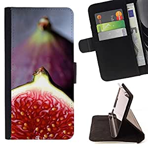 For Sony Xperia Z5 (5.2 Inch) / Xperia Z5 Dual (Not for Z5 Premium 5.5 Inch) Case , Rojo Tropical Fruit- la tarjeta de Crédito Slots PU Funda de cuero Monedero caso cubierta de piel