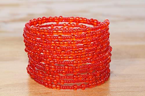 African Bracelet for Women - Maasai Jewelry - Beaded Wrap Bracelet - Handmade in Kenya - Candy Red, KB46