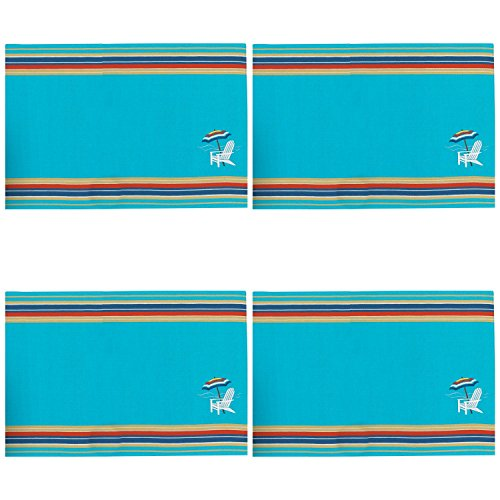 (Beach Chair Embroidered Fabric Kitchen Dining Placemats Set of 4 Kay Dee )