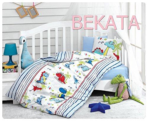 Bekata Dino Dinosaurs Baby Duvet/Quilt Cover Set Bedding Set 100% Ranforce Cotton Turkish Cotton Comforter Cover Toddler Infant Bedding Sheet Set 4 Pieces (4 PCS) from Cotton Box