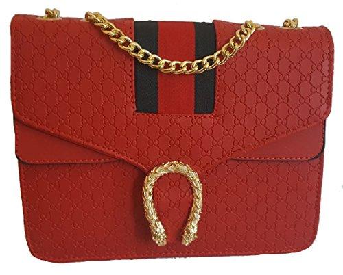 Strap Inspired Body Designer Snake Shoulder Chain Bag Evening Bag Red Stripe Cross Girl Gossip With Clasp Snake qEC10nvUxw