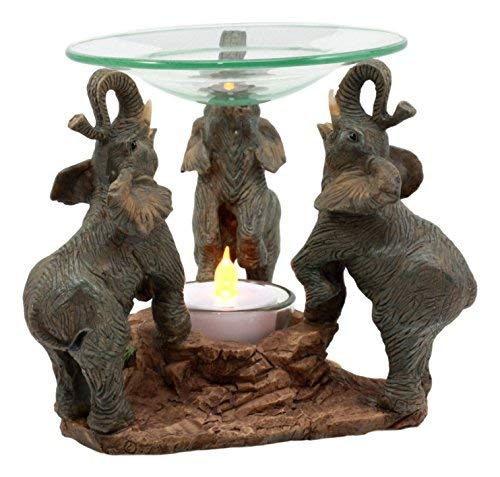 Ebros Trio African Savanna Elephants Trumpeting Oil Warmer Statue Wax Tart Burner Aroma Scent Diffuser Resin Safari Themed Decorative Figurine