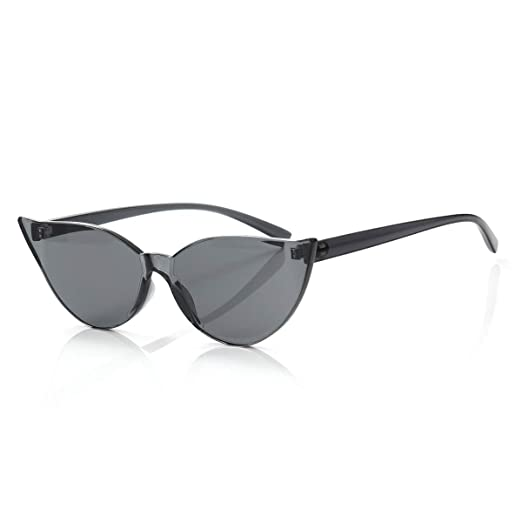 f0fab1911 Image Unavailable. Image not available for. Color  OLINOWL Cat Eye Rimless Sunglasses  Oversized One ...