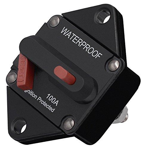 Ocamo 50A 100A 150A Car Motor Refit Energy Inline Circuit Breaker Fuse Manual Reset 12V/24V Manual reset + switch 100A
