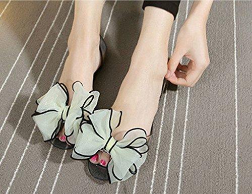 Mineroad Mujer Sandalias Calzado Dulce Bowknot Gelatina Jaleas Planas Jelly Beach Playa Zapatos Amarillo