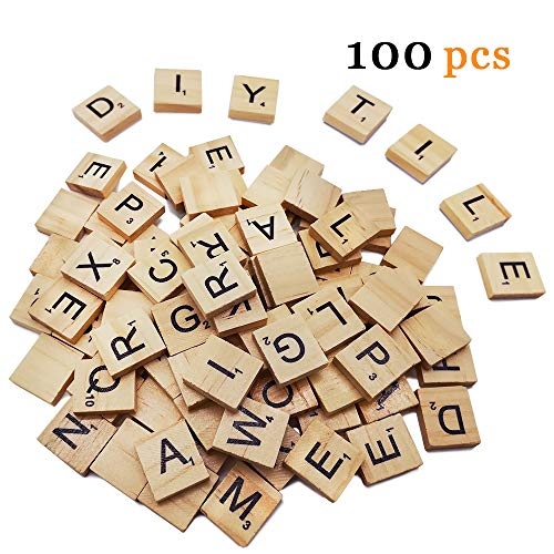 100pc Scrabble Letters for Crafts - Wood Scrabble Tiles-DIY Wood Gift Decoration - Making Alphabet Coasters and Scrabble Crossword Game