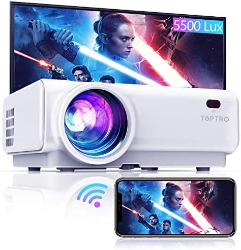 "TOPTRO WiFi Projector,5500 Bluetooth Projector,Support 1080P Home Video Projector,200"" Display,HiFi Speaker Compatible with TV Stick/Phone/Laptop/PS4/SD/USB/VGA/HDMI"