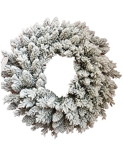 KING OF CHRISTMAS 36'' Pre-Lit Jr Prince Flock Wreath With 150 Warm White LED Lights by KING OF CHRISTMAS