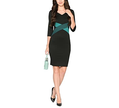Colyanda Womens Elegant V-neck 3/4 Color-block OL Slim Fit Sheath Pencil Dress