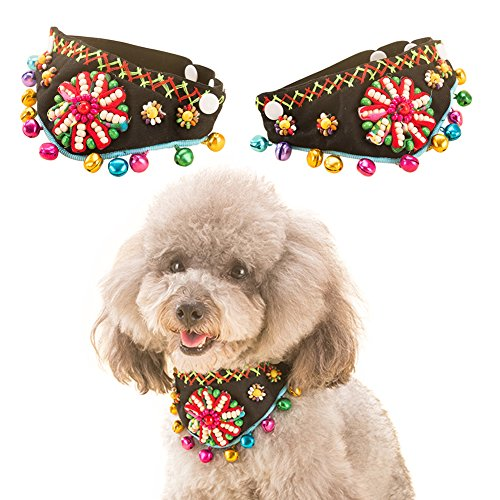 QBLEEV Cat Pet Puppy Bead Elastic Collar Triangle Scarf Folk Style With Colorful Bells (Baby Scarface Costume)
