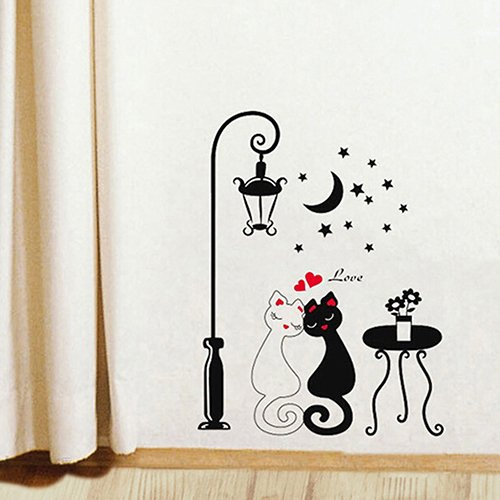 adonpshy Wallpaper Wall Stickers,DIY Home Decoration Couple Cats Removeable Wall Art Vinyl Sticker Wallpaper,Making Your Room More Beautiful
