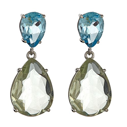 10x7 Blue Topaz 16x12 Green Amethyst Pear Shaped Sterling Silver Earrings