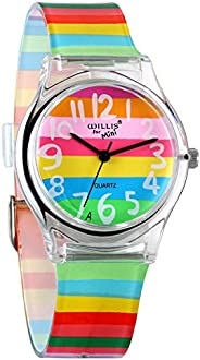 Avaner Kids Watch Cute Lovely Time Teacher Teen Girls Color Analog Silicone Band Wrist Watch