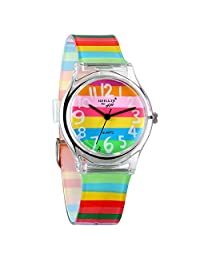 Avaner Kids Watch Cute Lovely Time Teacher Teen Girls Rainbow Color Analog Wrist Watch