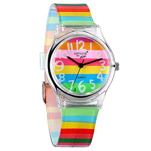 Avaner Kids Watch Cute Lovely Time Teacher Teen Girls Rainbow Color Analog Wrist Watch