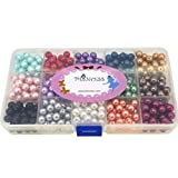 Glass Pearl Beads for Jewelry Making, 8mm Round, Mixed Colors, 540pcs, Box Set, Bulk Lot