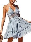 ECOWISH Womens Dresses V Neck Spaghetti Strap Backless Sleeveless Lace Mini Swing Skater Dress Light Blue S