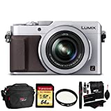 Cheap Panasonic LUMIX LX100 16.8 MP Four Thirds CMOS sensor Point and Shoot Camera with Integrated Leica DC Lens (Silver) + Transcend 64GB SDXC U3 + Deluxe Bag + Polaroid 43mm UV Filter + Cleaning Kit