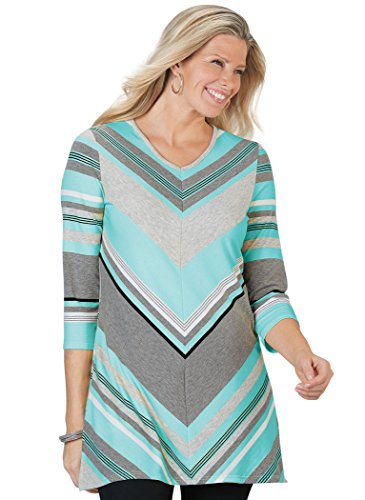 - AmeriMark Mitered Stripe Tunic Plus Size Aqua