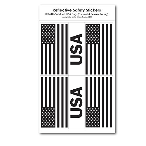 Subdued Reflective USA & American Flag Decals by ColorSurge | for Helmets, Bikes, Wheelchairs, Bumpers, Windows | Weatherproof & UV Resistant | Four 1