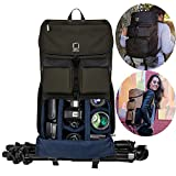 19'' Professional DSLR SLR Camera Backpack with Padded Dividers Tripod Holder, Weather Resistant Durable Bag for Camera, Lenses, Laptop, Tablet and Photography Accessories (Forest Green)