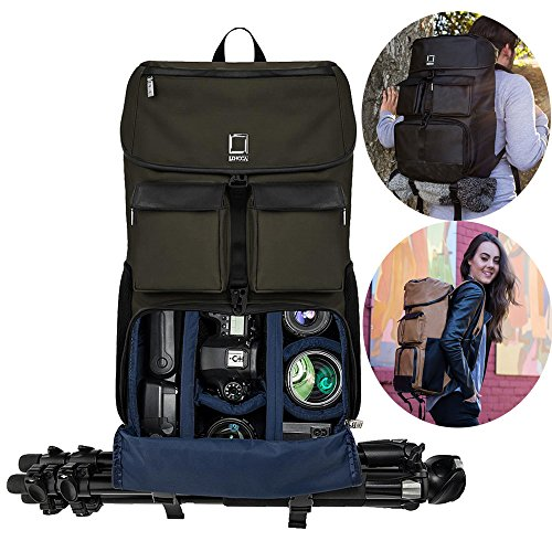 19'' Professional DSLR SLR Camera Backpack with Padded Dividers Tripod Holder, Weather Resistant Durable Bag for Camera, Lenses, Laptop, Tablet and Photography Accessories (Forest Green) by Roxie