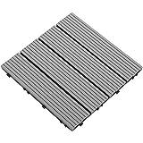 Samincom Deck Tiles Interlocking Wood-Plastic Composites Patio Pavers, Water Resistant Flooring Tiles Indoor Outdoor, 12'× 12', Pack of 22 (22 sq.ft), Dark Grey