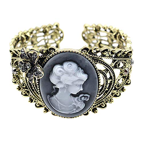 SoundsBeauty Retro Relief Carved Cameo Queen Statue Hollow Pattern Bangle Bracelet Jewelry Gift Brown