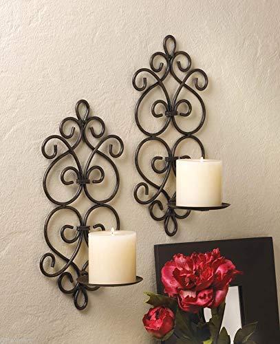 wakatobi 2 Black Iron Artisanal Sconce Wall Mount Pillar Heart Scroll Candle Holder Pair ()