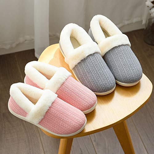 Gray Indoor Slipper Hand Outdoor Thick ALOTUS Unisex Memory Boot Foam Warm Fur with Knit UnnOPWS