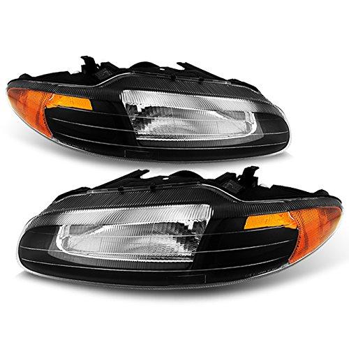 For Chrysler Sebring Convertible OE Replacement Black Bezel Headlights Driver/Passenger Head Lamps Pair ()