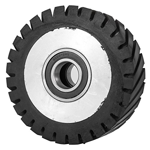 Happybuy 6x2inch Belt Grinder Rubber Wheel Serrated Rubber Contact Wheel 6206 Bearing Belt Grinder Wheel for 2x72inch Knife Making Grinder