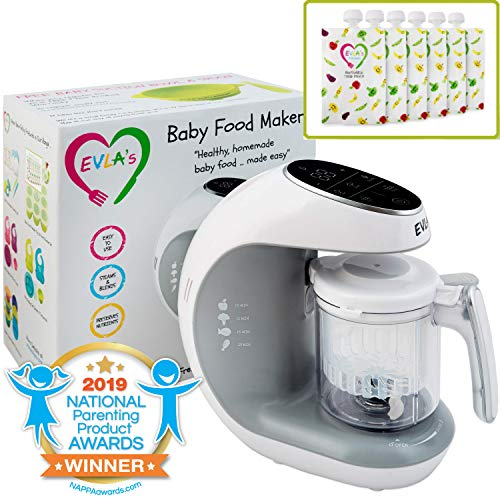 Baby Food Maker | Baby Food Processor Blender Grinder Steamer | Cooks & Blends Healthy Homemade Baby Food in Minutes | Self Cleans | Touch Screen Control | FDA Approved | 6 Reusable Food Pouches from EVLA'S