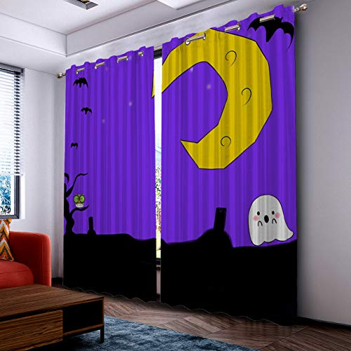 Prime Leader Curtains for Living Room- Darkening Thermal Insulated Window Treatment Curtains, with Grommet Home Decor Halloween Cartoon Moon and Ghost (2 Panels, 52 x 72 Inch Each Panel) ()