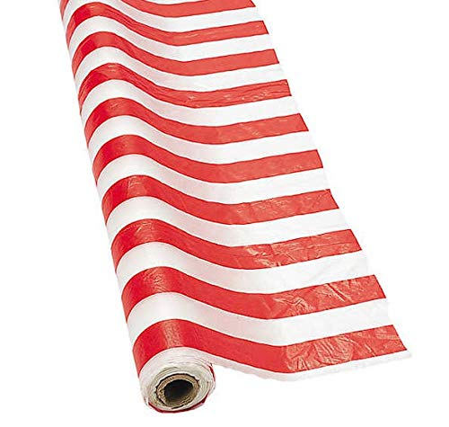 4E's Novelty Bulk! 100 ft Long Red and White Striped Tablecloth Roll -Great for Photo Backdrop/Festive Carnival/Circus/Birthday Theme Party Supplies - 40'' Wide When Unfolded ()
