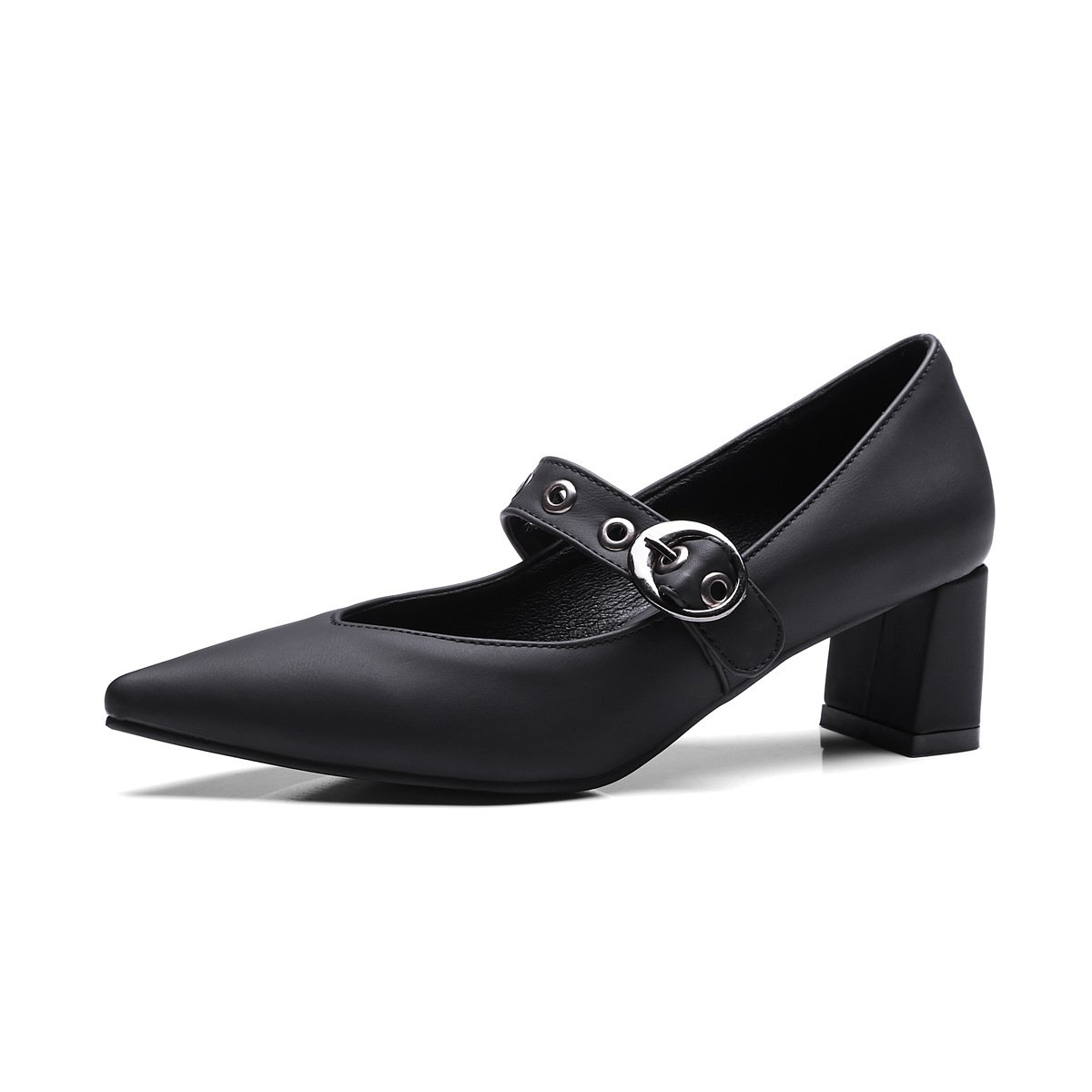 QINX Frauen Spitze Zehe Blockabsatz Schuhe35 EU|Black