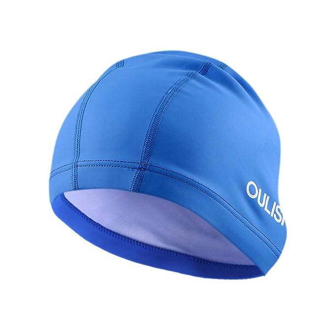EUCoo Summer Swimming Hat in Silicone Impermeabile Tinta Unita Cuffia da  Nuoto Cappello Unisex(Blu 58871c52fb08