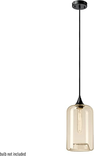 Globe Electric 65612 1 Light Pendant, Designer Cloth Cord, Amber Glass, Matte Black Finish, 1x A19 60W Blub Sold Separately